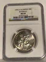1995 S Olympics Baseball Commemorative Half Dollar NGC MS 69