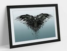 GAME OF THRONES CROW THIRD EYE -ART FRAMED POSTER PICTURE PRINT ARTWORK- BLUE