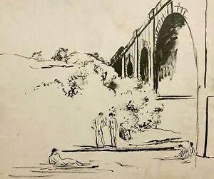 WALTER STUEMPFIG 20th c. American DRAWING Nude Young Men Skinny Dipping MANAYUNK