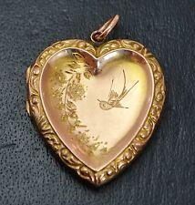 Victorian 9k GOLD B&F Swallow Bird & Flowers Heart DOUBLE SIDED Engraved LOCKET