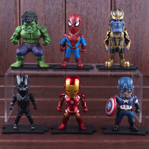 6Pcs Marvel Avengers Thanos Iron Man Hulk Q Action Figure Model Cake Topper