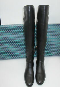 Tory Burch Wyatt Leather Over The Knee Black Boot sz 9M