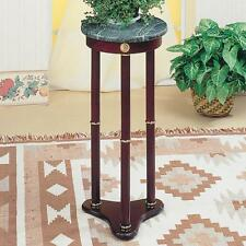 Cherry Finish Round Plant Stand Table with Green Marble Top by Coaster 3315