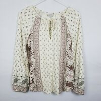 Lucky Brand Womens Top Size XS Beige Floral Boho Long SLeeve Keyhole Neck Tunic