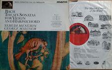 BACH / SIX SONATAS FOR VIOLIN & HARPSICHORD - Y. MENUHIN - HMV 1925  - U.K. LP