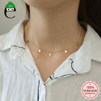 Silberkette mit Anhänger Plättchen Kurz Schlicht Rund Halskette Damen 925