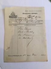 1845 Baggage Entry Receipt For A Family On The Ship Susquehanna