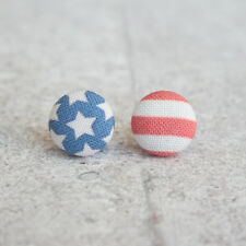 USA American Flag Fabric Button Earrings