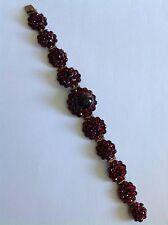 Delightful Antique Victorian Bohemian Garnet Set Bracelet - Circa 1880