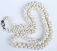Stunning Vintage Pearl and White Coral Beaded Necklace Silver Clasp