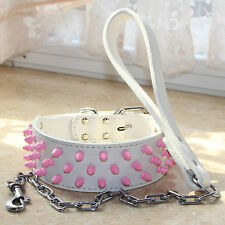Pink Spiked Studded Dog Collar + Dog Leash Lead SET Leather Pitbull Bully Boxer