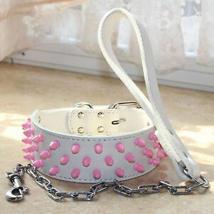 Pink Spiked Studded Leather Dog Collar + Dog Leash Lead SET Pitbull Bully Boxer