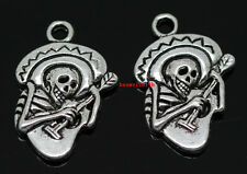 20pcs Tibet silver Play guitar skeleton Jewelry Finding Charms pendant 22x15mm
