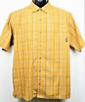 Patagonia Men's Size M Orange Plaid Organic Cotton S/S Button Down Shirt EUC