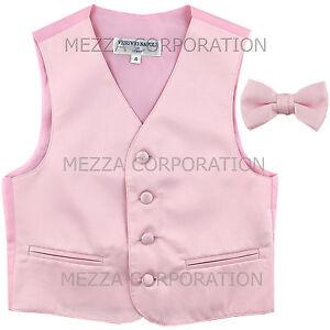 New Kids Boys Formal Tuxedo Vest Bowtie Pink US Sizes 2-14 Wedding Party