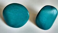 Wood Grain Textured Turquoise Earrings Wooden Round Circle Post & Backings 80's