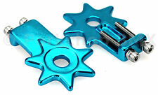 "BMX bicycle star spur chain tensioner for 3/8"" axles (PAIR) BRIGHT DIP BLUE"