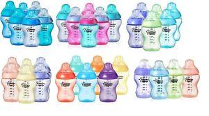 Tommee Tippee Colour My World 260ml Baby Feeding Bottles Girls/Boys 4 / 6 Pack