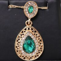 Antique Vintage 4 Ct Pear Cut Green Emerald Halo Necklace Women Jewelry Gift