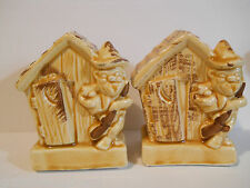 1960's Lugene's Hillbilly Outhouse Salt Pepper Shakers Country Collectible Set 2