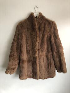 Vintage Coney Fur Rabbit Vintage Coat Designer Size 10 8 Real Genuine Orange