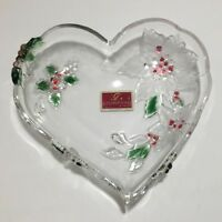 "Mikasa Crystal Glass ""Holiday Bloom Christmas Poinsettia"" Heart Candy Dish Bowl"