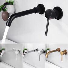 Wall Mount Dual Handles Sink Faucet Brass Mixer Tap Basin Faucet 4 Colors Choice