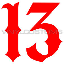 "2"" Lucky 13 Number 13 Sticker Vinyl Decal"