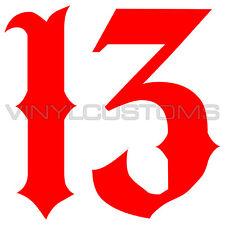 "2"" Lucky 13 Number 13 Sticker Vinyl Decal"