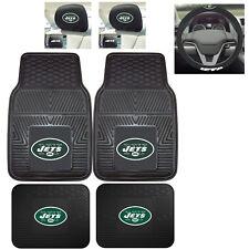 7pc NFL New York Jets Heavy Duty Rubber Floor Mats & Steering Wheel Cover