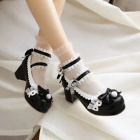 Lolita Womens Bowknot Mary Janes Ankle Strap Chunky Heels Buckle Round Toe Shoes
