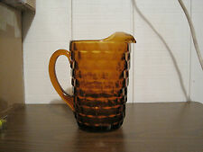 VINTAGE HEAVY AMBER INDIANA GLASS WHITEHALL PITCHER
