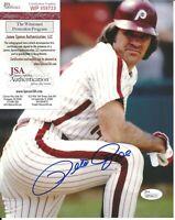 Pete Rose Signed Auto 8x10 Photo JSA WITNESSED COA Philadelphia Phillies