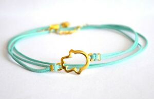 Gold Hamsa anklet turquoise cord ankle bracelet Hand of Fatima beach jewelry