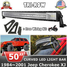"""50""""inch 2808W Curved LED Light Bar+Mount Brackets for 1984-2001 Jeep Cherokee XJ"""