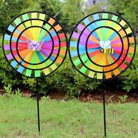 36cm Colorful Rainbow Triple Wheel Wind Spinner Windmill Garden Yard Decor RVR