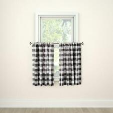 "Threshold Checkered Hot Coffee Check Light Filtering Cafe Curtain 42"" x 36"""