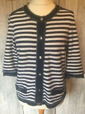 Gerry Weber Blue Striped Cardigan With Frayed Denim Detail 16