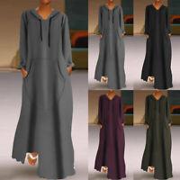 ZANZEA Women Sweatshirt Long Maxi Dress Hoodies Full Length Sweats Dress Plus