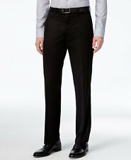 $300 ALFANI men BLACK SLIM FIT FLAT FRONT WOOL DRESS TROUSERS PANTS 38 W 32 L