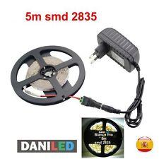 Tira Led 5M 300 led SMD 2835 BLANCO FRIO INTERIOR + ADAPTADOR 12V 2A +CONECTOR