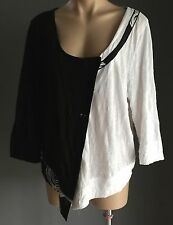 Stylish TAKING SHAPE Black &White Asymmetric Hem Cardigan Plus Size S