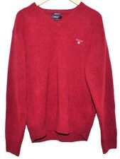GREAT GIFT GANT LAMBSWOOL SWEATER JUMPER RED V NECK SIZE L