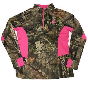 Mossy Oak Camo Pullover Shirt Mens L 42 44 1/4 Zip Stretchy