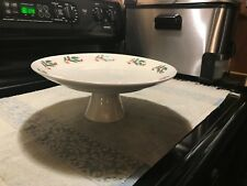 "White Christmas Holly Leaves Berries Cake Stand 10 1/4""  Pedestal NIB Lot#0299"