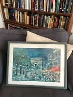 Vintage Paris champs elysee Arc de tromp view painting Print French Framed