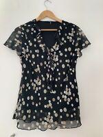 Ladies Blouse Bm 16 Black Beige Spotted Short Sleeve Formal <JJ12880