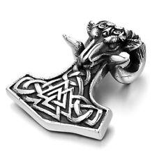 Mendino Men's Stainless Steel Pendant Necklace Viking Goat Thor Hammer Mjolnir