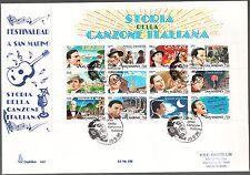 San Marino 1996 FDC CAPITOLIUM Foglietto Storia Canzone italiana ANNULLO A RETRO