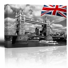 "Canvas Prints Wall Art - London Tower Bridge with Colored British Flag-24"" x 36"""